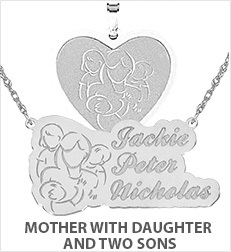 Mother with Daughter and Two Sons Pendants